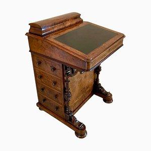 Antique Victorian Burr Walnut Inlaid Freestanding Davenport