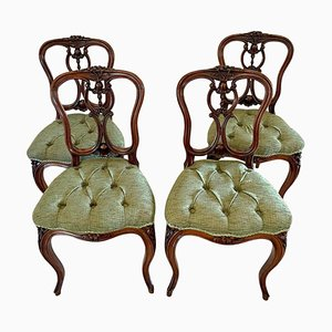 Antique Victorian French Carved Walnut Side Chairs, Set of 4