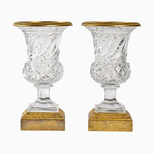 Crystal and Gilt Bronze Vases, Set of 2