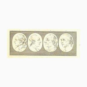 Thomas Holloway, Heads of Men, Original Etching, 1810