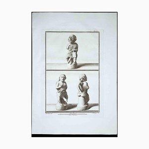 Filippo Morghen, Phallus Fascinum in der antiken römischen Religion, Radierung von Filippo Morghen, 1700er