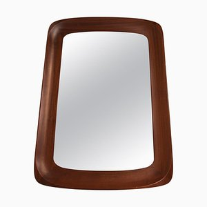 Sculptural Wall Mirror in Mahogany and Crystal Glass from Glas & Trä, 1960s