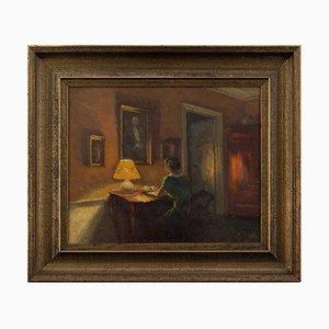 Søren Christian Bjulf, Interior Szene mit Frau am Schreibtisch