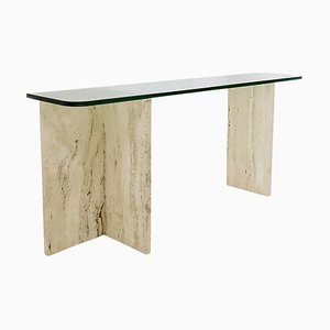 Mid-Century Modern Italian Travertine and Glass Console Table, 1970s
