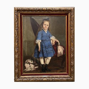 Eugenio Spreafico, Portrait of a Child, 19th-Century, Oil on Canvas