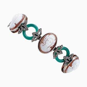 Diamonds, Green Agate, Cameo, 9 Karat Rose Gold and Silver Bracelet