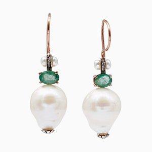 Emeralds, Diamonds, Pearls, 9 Karat Rose Gold and Silver Dangle Earrings, Set of 2