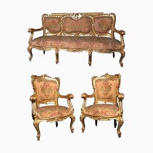 Italienische vergoldete italienische Wohnzimmergarnitur mit Sofa und Sesseln, 3er Set