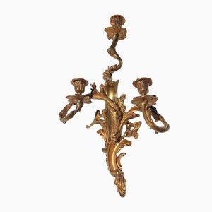 Portacandele in bronzo placcato in oro, set di 2