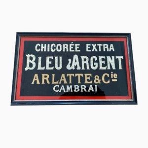 Blaues Silber Cambrai Um Schild, 1900er