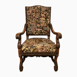 Antique Armchair in Tapestry Upholstery, Late 18th Century