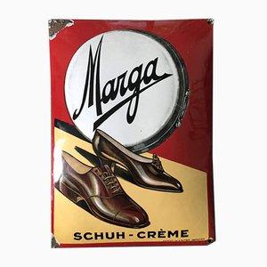 Insegna Marga Shoe Cream smaltata, anni '20