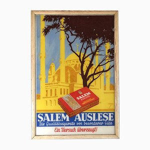 Glass Salem Cigarettes Sign by Ludwig Hohlwein