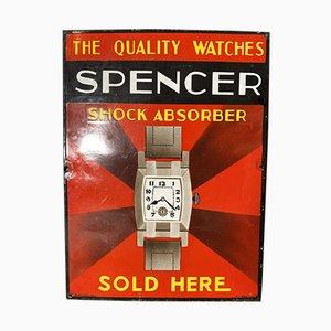 Emailliertes Spencer Uhren Schild, 1930er
