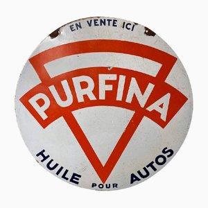 Cartel Purfina Petrol esmaltado, años 30