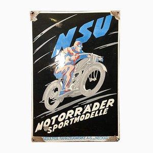 NSU Motorräder Sportmodelle Schild in Emaille, 1920er