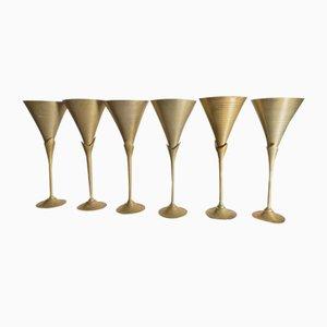 Art Deco Champagne Glasses, Set of 6