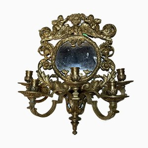 Bronze Candlestick with Mirror, 19th Century