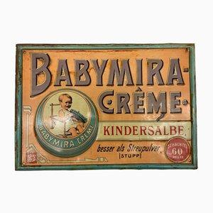 Insegna in latta di Baby Mira color crema, inizio XX secolo