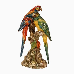Italian Ceramic Parrots by Guido Cacciapuoti, Italy, 1930s