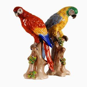 Art Deco Porzellan Papageien, 2er Set