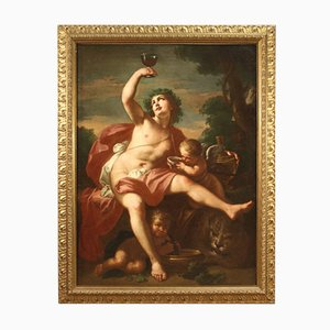 Antike italienische mythologische Bacchus und Love Gemälde, 17. Jh