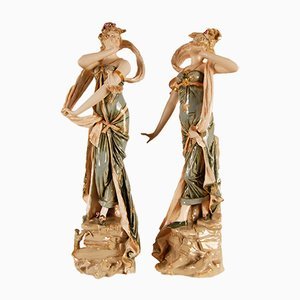 Austrian Art Nouveau Porcelain Figures, Set of 2