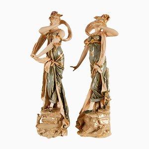 Österreichische Jugendstil Porzellanfiguren, 2er Set