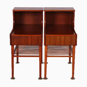Set of Vintage Danish Bedside Tables with Drawer and Wooden Rack