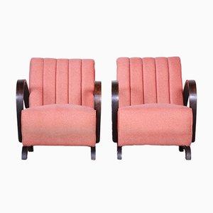 Czech Art Deco Style Pink Fabric Armchair, 1930s, Set of 2