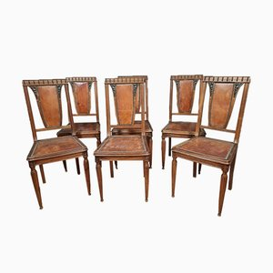 Art Deco Chairs in Solid Walnut with Blonde Patina, Set of 6