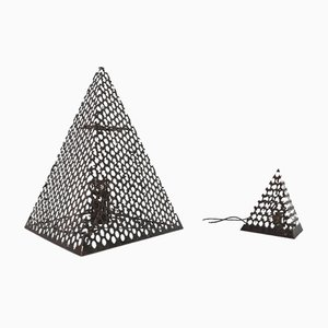 Mid-Century French Pyramid Geometric Floor and Table Lamp, Set of 2