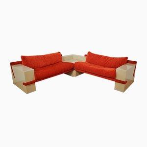 White Lacquered Modular Sofa with Orange Fabric, Set of 17