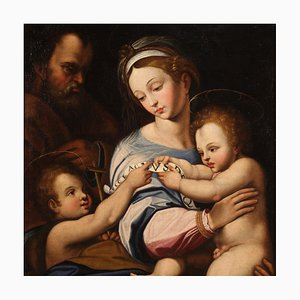 Antique Religious Holy Family Painting, 17th Century