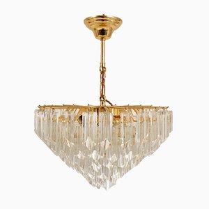 Italienischer Kristallglas Kronleuchter von Novaresi Luce Milan Venini, 1970er
