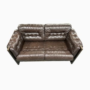 Danish 2 Seater Brown Leather Sofa with Armchair, Set of 2