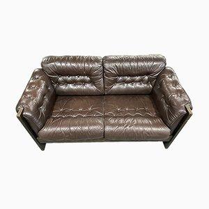 Sofá de dos plazas danés de cuero marrón con butaca. Juego de 2