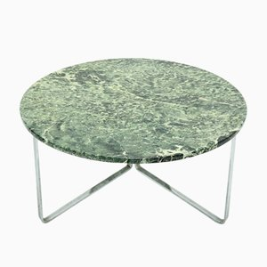 Mid-Century Green Marble and Chromed Steel Round Coffee Table, 1960s