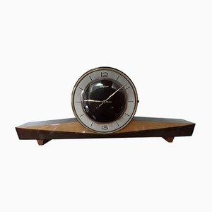 Mid-Century Mechanical Table Clock in Dark Walnut Veneer & Light Birch Veneer with Cherry Feet from Junghans, 1950s