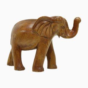 Large Carved Teak Elephant, 1970s