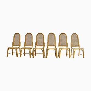 Bamboo and Webbing Dining Chairs, 1970s, Set of 6