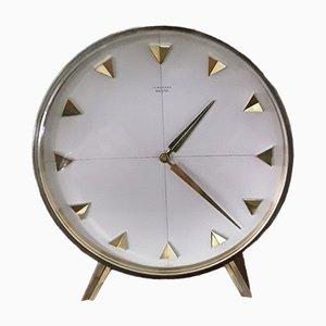 Orologio da tavolo Meister vintage in ottone con quadrante in alluminio spazzolato di Junghans, anni '60