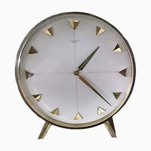 Vintage Mechanical Meister Table Clock in Brass with Brushed Aluminum Dial from Junghans, 1960s