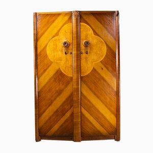 Art Deco Kleiderschrank aus Nussholz & Ahorn Wurzelholz, England, 1940er