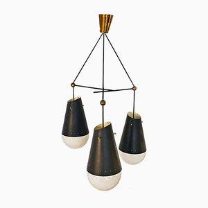Italienische Mid-Century Deckenlampe aus schwarzem Metall mit 3 Leuchten und Opalglas, 1950er
