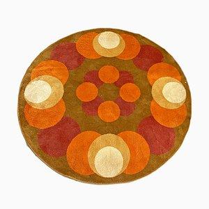 Mid-Century Modern Italian Round Short-Pile Carpet with Circular Motifs, 1970s