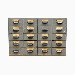 Industrieller Schrank mit 20 Schubladen, 1950er