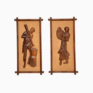 Decorative Carved Walnut Reliefs Wall Art, 1960s, Set of 2