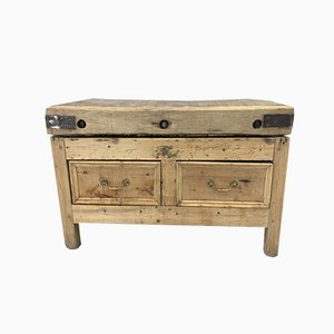 Butchers Block with Double Sided Drawers and Brass Handles