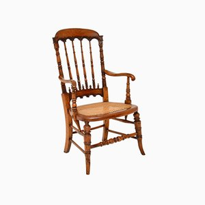 Antique Victorian Carved and Cane Seated Armchair